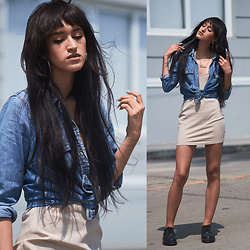 Andrea Chavez - Luma Voga Nude Dress, Guess Denim Shirt, Platanitos Oxfords - Denim for the day