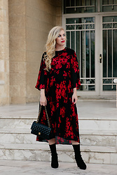 Meagan Brandon - Floral Midi Dress, Sock Boots - Floral Midi Dress & Sock Boots