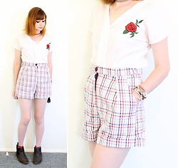 Rachel-Marie - Romwe Rolled Cuff Tailored Plaid Shorts, Unbranded Tattoo Choker, Romwe White V Neck Rose Embroidery Chiffon Top, Romwe Black Ankle Gusset Boots - Playing with Plaid