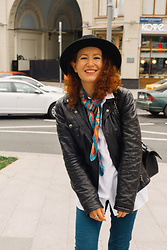 Anna Okonishnikova - Dolce & Gabbana Leather Jacket, Pull & Bear Shirt, Eleganzza Scarf - FINDING YOURSELF