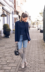 Stephanie Van Klev - Steffen Schraut Blazer, Steffen Schraut Shirt, Zara Skinny Jeans, Stuart Weitzman Over The Knee Boots, Chanel Bag - Boot Season