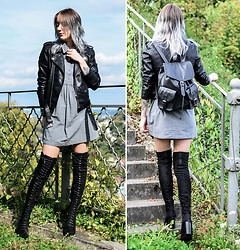 Saskia B. - Only Shirt, Public Desire Over Knee Boots, Zaful Perfecto, Vintage Bag - Over knee boots