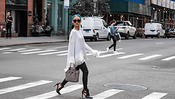 Yuki Bomb - Never Fully Dressed White Fringe Top, Whitefoxboutique Black Leather Pants, Michael Kors Grey Handbag, Zara Black Boots - Fashion Week - NYFW Street Style