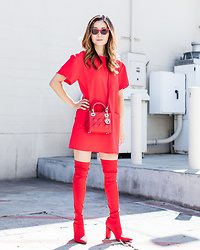 Elizabeth Lee (Stylewich) - Zara Otk Boots, Dior Mini Lady Bag, Quay X Kylie Sunglasses - Red