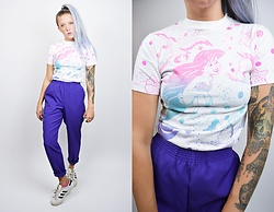 Owlephant Vintage - Vintage Little Mermaid Tee, Owlephant Vintage Purple Trousers, Adidas Superstars - Pastel Holographic Little Mermaid Dreamz