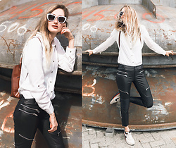 Eva Velt - Zan.Style Blouse, Zara Fake Leather Pants, Vintage Bag, Nike Sneakers - Wicked love Jones