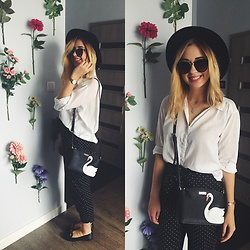 Matylda - Kate Spade Swan Bag, Zara Pants, H&M Hat, Stradivarius Sunglasses - Dot pants & Kate Spade swan bag