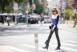 Lauren Recchia - Rag & Bone Color Block Sweater, Derek Lam Grid Trousers, Robert Clergerie Patent Booties - Off The Grid