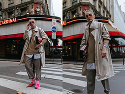 Andreea Birsan - Trench Coat, White Button Down Shirt, Beige Sweater, High Waisted Check Printed Trousers, Pink Socks, Pink Mules, Eyelet Shoulder Bag, Pink Tinted Aviator Sunglasses, Earrings - PFW day 6