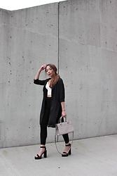 Vivian Quan - Kate Spade Beige Bag, Charlotte Russe Satin Black Blazer, Zara White Crop Top, Shein Black Platform, Forever 21 Black Trousers - Walkin' away from you