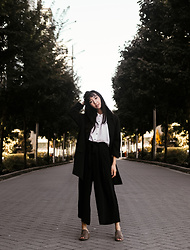 Gabby Chia - Dex Wide Leg Pant, Qupid Mules, Dex Button Up, L3no Oversized Blazer - On Break