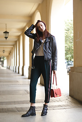 Maria Joanna - Stradivarius Fake Leather Jacket, Bershka Pants, Tuscan's Firenze Floral Bag, Stradivarius Boots - Ready to GO