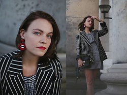 Stine Mo - Topshop Blazer, Sweet Deluxe Earrings, Proenza Schouler Ps11, Casio Watch - Red details