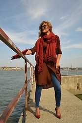 An Koko - Kovale Handcrocheted Shawl, Burda Style Wrap Dress - Hello October! Wrap dress with denim