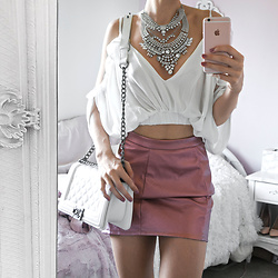 Tia Mcintosh - Misspap Pink Pu Skirt, Shein White Ruffle Top - Rosy Day