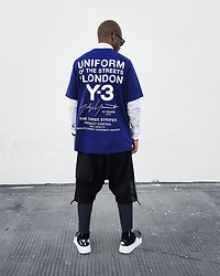 Martell Campbell - Yohji Yamamoto Sunglasses, Y 3 T Shirt, Y 3 Shorts, Y 3 Sneakers - UNIFORM OF THE STREETS