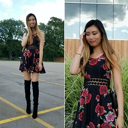 Erika - Free People Rose Print Dress, Steve Madden Over The Knee Boots - Roses For You