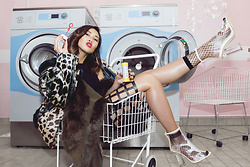 Louise Xin - Asos Patchwork Fauxfur Coat, Public Desire Transparent Heels, Louise Xin Cut Out Cage Dress - Laundry room