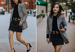 Susan Hang - Mango Plaid Blazer, B Low The Belt, Topshop Sweater, Aquazzura Heels - Vintage Vibes for Fall