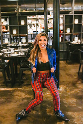 Eliza Romero - Mango Red Plaid Biker Pants, Missguided Black Corset Tube Top, Bershka Cobalt Blue Faux Leather Biker Jacket, Jeffrey Campbell Shoes Black Hawthorne Boots - Mad About Plaid