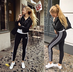 Esther E. - Adidas Leggings, Adidas White Sneakers, Urban Outfitters Back Bag, H&M Biker Jacket, H&M White Tee - Mornings In Trainers