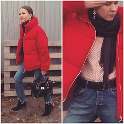 Alla Dolzhenko - Pull&Bear Down Jacket, Jack&Jones Jeans Cutting By Me, Of Course !!!, Lindex Bag, Earrings, Scarves, Leather Belt, Tvoe Silk Top With Star Print, Mango Heels - The tomato is ripe