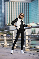 Lauren Recchia - Bb Dakota Bomber Jacket, Ramy Brook Fringe Knit, Zara Stirrup Leggings, Manolo Blahnik White Booties - Stirred Up