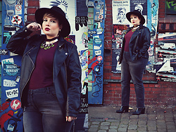 Luciana Blümlein - Happy Size Jacket, Happy Size Top, Happy Size Jeans, C&A Boots, H&M Hat, Feathery Choker, Dior Earrings - • Something Different •