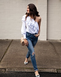 Jenelle Witty - Bohemian Traders Ruffle One Sleeve Top, Bohemian Traders Distressed Jeans, Givenchy Shoulder Bag, Chiara Ferragni Flirting Flats - ONE SHOULDER RUFFLE TOP