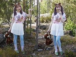 Lindwormmm - Second Hand Ever After High Butterfly Top, Black Milk Clothing Mermaid Scale Leggings, Lace Tights, White Pleated Skirt, Thrift Shop Mary The Bear Backpack, Bear Ears And Crown - Bears Live Happily Ever After