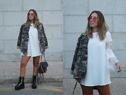 Claudia Villanueva - Pull & Bear Sunglasses, Zara Jacket, Dresslily Dress, Shein Backpack, Shein Boots - Wearing a summer dress in autumn