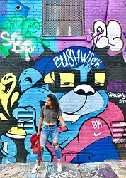 Angelica Ramirez - Urban Outfitters Cropped Tee, Hollister Boyfriend Jeans, Adidas Classic Superstar - BKLYN state of mind