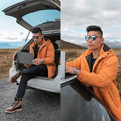 Leo Chan - Zara Yellow Jacket, Timberland Boots - Tech On The Go in Iceland