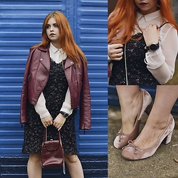Inez Oszek - Zara Jacket, Sisley Dress, Solar Bag, Even&Odd Shoes, Tous Watch - Burgundy jacket - must have!