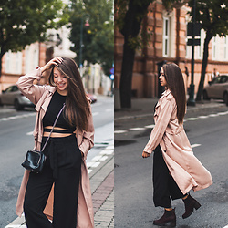 Gabriela Grębska - Lasocki Ankle Boots, Front Row Shop Trench Coat, Romwe Crop Top, Wide Pants, Zara Bag - Wide pants