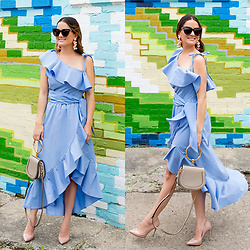 Jenn Lake - Style Mafia Blue Ruffle Dress, Chloe Nile Bracelet Bag, Steve Madden Blush Patent Daisie Pumps, Sachin And Babi Pink Coconuts Earrings, Spring Tortoise Cat Eye Sunglasses - Style Mafia Blue Ruffle Dress