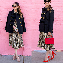 Jenn Lake - Kate Spade Leopard Print Midi Dress, Kate Spade Ruffle Velvet Trim Coat, Kate Spade Galewood Heels, Kate Spade Jalena Sunglasses, Kate Spade Leopard Evening Belles Zurie, Kate Spade Red Sam Nylon Bag, Lauren Marinis Red Suede Gilda Pumps - Kate Spade Leopard Print Midi Dress