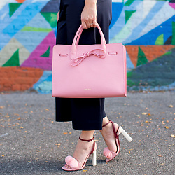 Jenn Lake - Mansur Gavriel Blush Sun Bag, Mercedes Castillo Olenna Sandals, Tibi Mila Satin Pants - Mansur Gavriel Blush Sun Bag