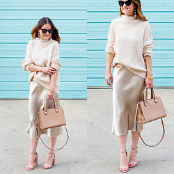 Jenn Lake - Nordstrom Beige Satin Midi Skirt, Nordstrom Beige Oversized Turtleneck Sweater, Kate Spade Stewart Street Little Joy, Steve Madden Blush Patent Carrson Sandals, Julie Vos Gold Cuffs, Baublebar Crispin Drop Earrings - Beige Satin Midi Skirt