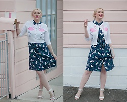 Ashleigh McCallum - Marcs Crane Game Silk Dress, Wears London Lucy Flamingo Cardigan, Wittner Otto Heel, Miss Monogram Pouch - Totally Retro & Pink Lady Vibin'