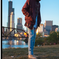 Justin Price - New Republic By Marc Mcnairy Houston Sand Chelsea Boots, Forever 21 Ripped Light Wash Jeans, H&M White Long Sleeved Shirt, Forever 21 Flannel, H&M Burgundy Bomber - LAYAWAY