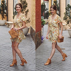 Heidi Landford - Spell Designs Sayulita Mini Dress, Wood/Grey Basket Bag, Midas Tan Ankle Boots - All My Favourites