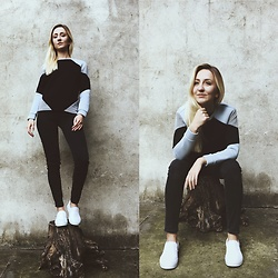 Dominika & Ola - Second Hand Neoprene Sweatshirt, Lee Jeans, Vans Shoes - Feeling comfy