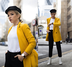 Silver Girl - Brixton Fidler Hat, Asos Yellow Blazer, Steve Madden White Boots, Joah Brown Muscle Tee, Michael Kors Cigarette Trousers - CITY OF LONDON