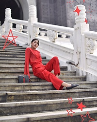 Cindy Karmoko - Gucci Bag, Love Bonito Pants - Red on red