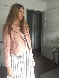 Cindy Batchelor - Amazon Pink Faux Leather Faux Fur Hooded Jacket, Amazon Striped Maxi Dress $18 - Pink Faux Leather Jacket and Black & White Striped Maxi Dres