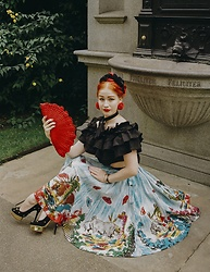 Roberta D. - Asos Ruffle Cropped Top, Kate Spade Cacti Earrings, 1930´S Crochet Bag, 1950´S Handpainted Skirt, Charlotte Olympia Heels, Abbie Walsh Bespoke Necktie - Tomorrow never came