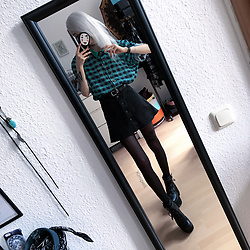 Kimi Peri - Ebay Platform Boots, Tights, Monki Black Denim Skirt, H&M Belt, Friend's Gift Stone Necklace, Vintage Blouse, Choker - Give Me All The Vintage Shirts