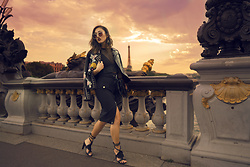 Louise Xin - Mango Embroidered Leather Jacket, H&M Mesh Crop Top, Jean Paul Gaultier Xlindex Skirt, Nelly Lace Up Heels, Marc Jacobs Cat Eye Sunglasses, Louise Xin Feather Bag - Paris - Pont Alexandre III