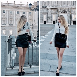 Esther E. - Primark Leather Skirt, H&M Blag Flats, H&M White Turne Neck, Zara Leather Bag, Ray Ban Sunglasses - Fall Look in Madrid